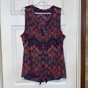 Maurice's colorful button down tie-front tank top